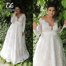 Long Sleeves Lace V Neck Wedding Dresses Sweep Train Floor Length Plus Size A Line Appliques Bridal Gown with Buttons and Sash