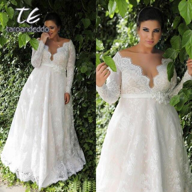 Mangas compridas renda v pescoço vestidos de casamento varrer trem andar comprimento mais tamanho a linha apliques vestido de noiva com botões e faixa
