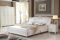 King Size White Synthetic Leather Bed With Bed Frame For Bedroom PRF2807