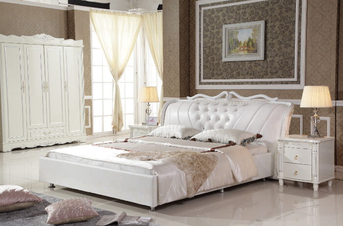 king size white synthetic leather bed with bed frame 4 doors wardrobe and 2 nightstands for bedroom prf2807