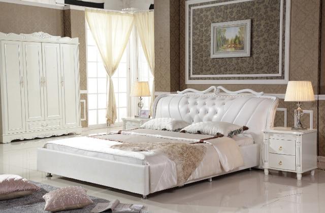 King Size Blanc Synthetique En Cuir Lit Avec Lit Cadre 4 Portes