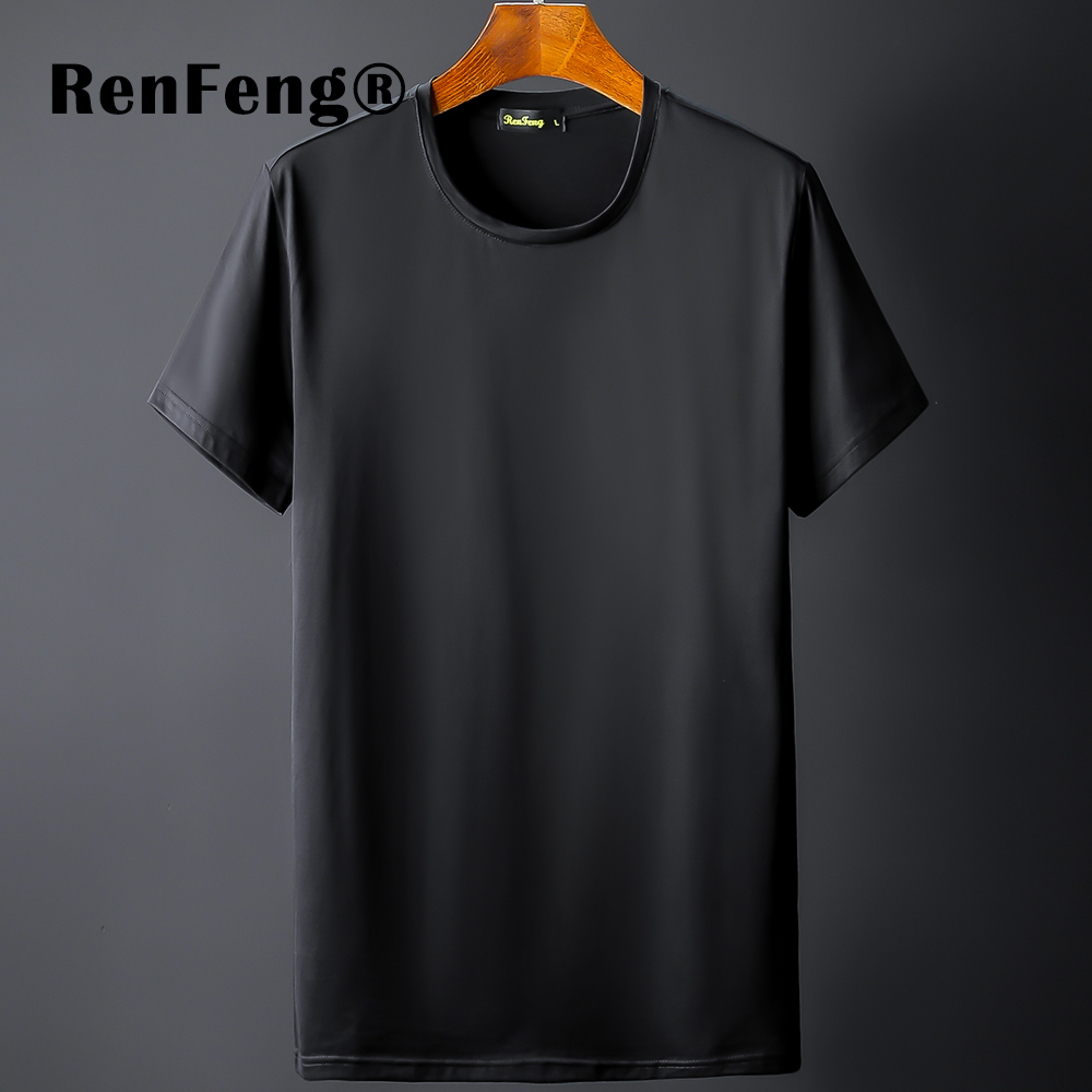 New Blank black Mercerized Cotton Short Sleeve Men\`s T-Shirt Underwear Round Collar Ice Silk Cool T-Shirt Slim Blusa Tops Summer (12)