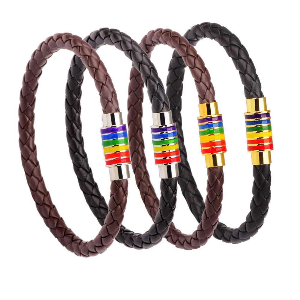 St.kunkka Black Brown Genuine Braided Leather Bracelet Women Men Stainless Steel Gay Pride Rainbow Magnetic Charms Bracelet Gift