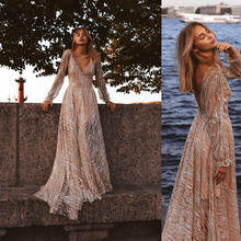 womens dresses new arrival 2019 bohemian summer beach party dress striped long sleeve mesh backless sequin free shiping