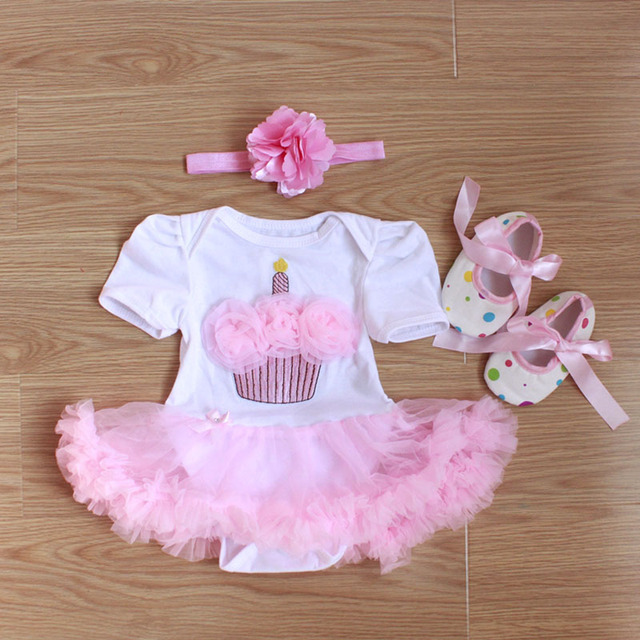 Fashion 1-year Old  Birthday Baby Girl Romper Princess Tutu Dress 3pcs/set Cotton Short Sleeve Newborn Infant Jumpsuits clothing