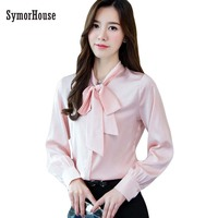 SymorHouse Spring Long Sleeve Bow Tie Satin Shirts Women Work Wear Office Satin Blouses Lady Casual