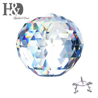 H&D 150mm/5.9inch Prism Cut Crystal Clear Lead Free Ball Great for Fortune Telling, Feng Shui Divination Spheres