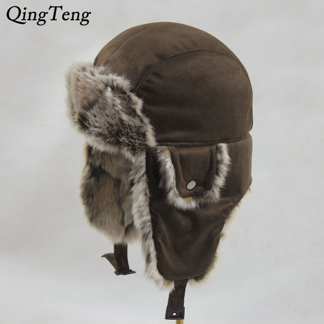 b4c2fe61 Winter Suede Hats For Men Bomber Hats Aviator Ear Flaps Russian Fur Cap  Outdoor Cycling Ride