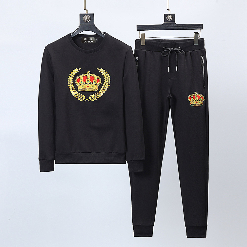 Новый Для мужчин бренда дизайнерский спортивный костюм Для мужчин костюм Толстовка с бегунов брюки вышивка Корона Повседневное 2 шт. компле