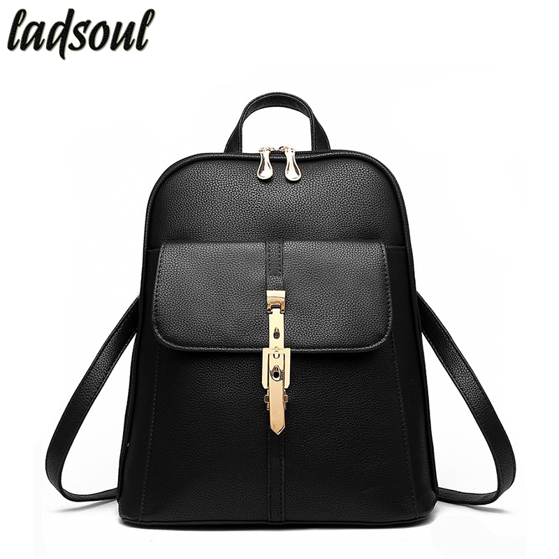 LADSOUL Women Backpacks School Students Backpacks Fashion Leather Backpack Large Capacity Good Quality Travel Backpacks hl8383/g