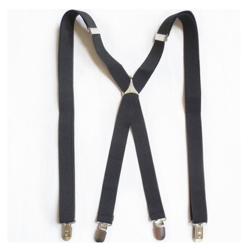 2.5X120cm Men Black Large Size Suspenders Braces Clip-on X-Back Elastic Suspenders for men 47