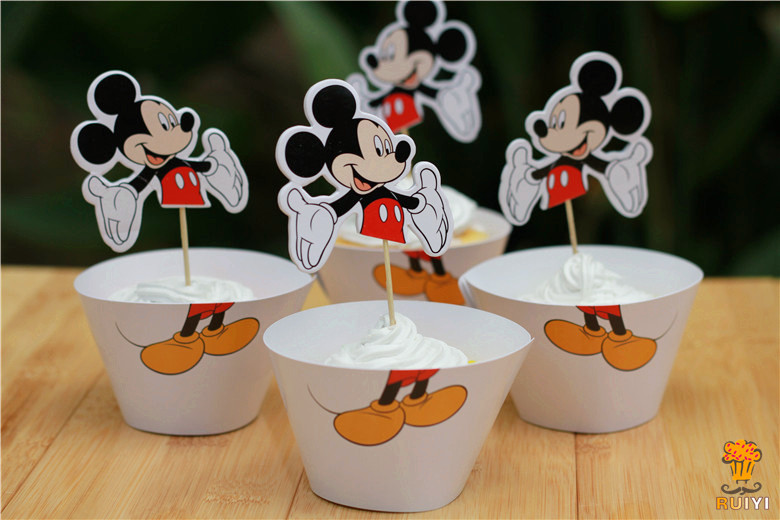 Sets Mickey Mouse Cupcake Wrappers With Toppers Baby Shower Decoration For  Kids Birthday Supplies Party Favors