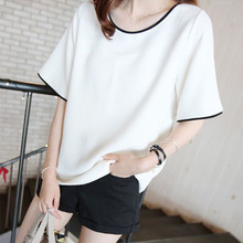 Spring and summer women's T-shirt loose jacket Korean version of a large solid color T-shirt half sleeve shirt