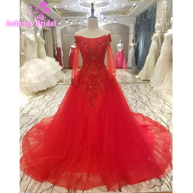 2017 Formal Red Evening Gown Corset Tulle Full Length Lace Up Ball Gown  Prom Dresses Off Shoulder Occasion Party Gowns Dress 17b506de95e5
