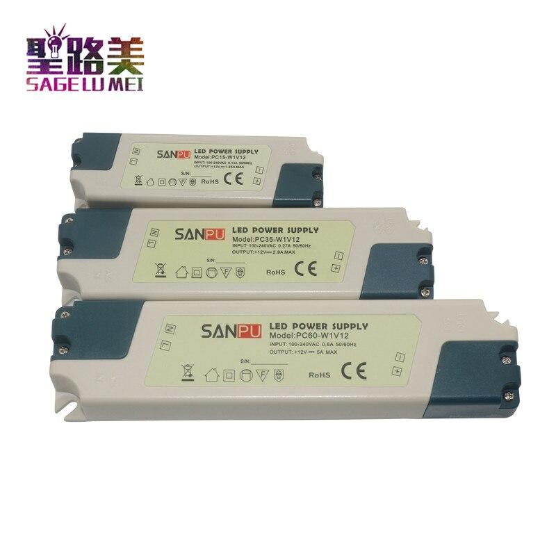 SANPU plastique LED éclairage 12V transformateur d'alimentation 110V 220V AC à DC 12V 24V 15W 35W 60W LED pilote pour caméra de vidéosurveillance