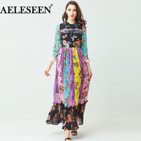 Romantic Runway Dress Women Fashion 3 4 Sleeve Luxury Beautiful Spring 2018 Sequined Patchwork Beaded Lace