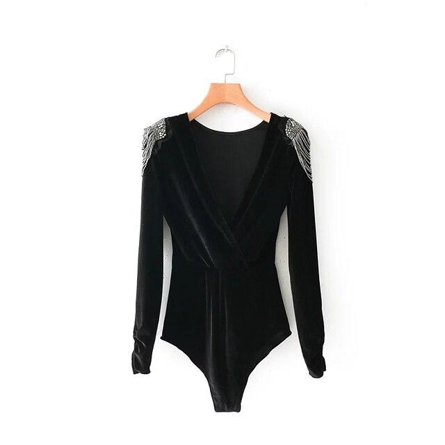 f01b7cae7a Long Sleeve Velvet Bodysuit Deep V Collar Bead Epaulet Stylish Sexy Women  Jumpsuit Skinny Female Playsuits Slim Catsuit 2018