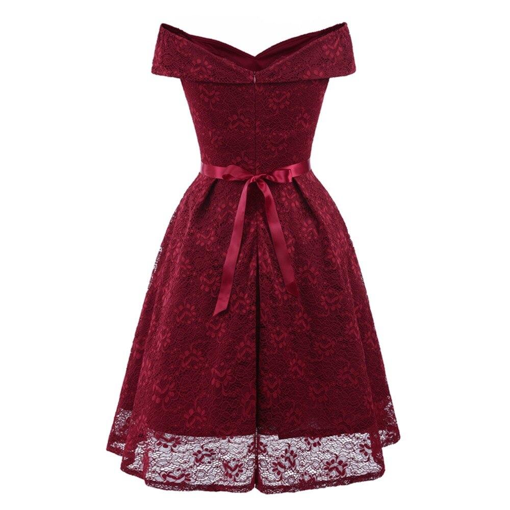 Image 2 - Novo sexy vestido de noite curto renda vinho vermelho rosa a  linha festa formal vestido de baile vestidos de formatura com sash robe  de soireeVestidos de Festa