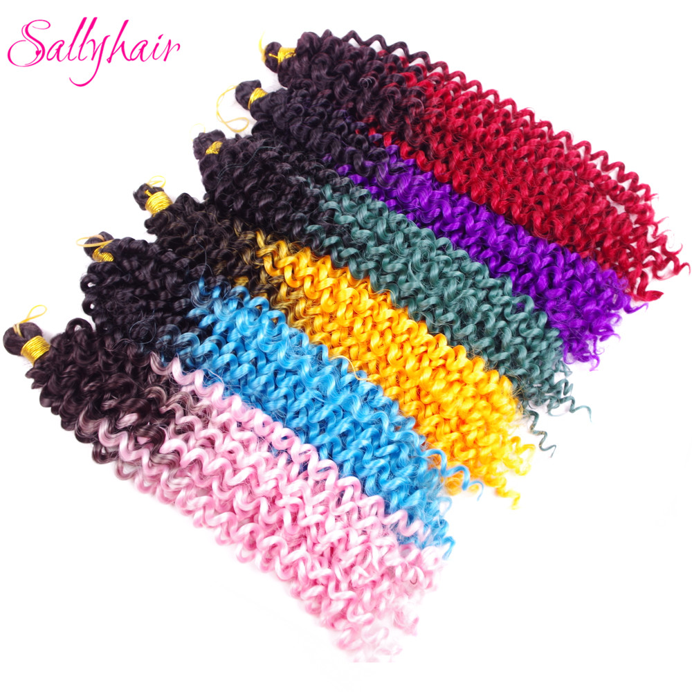 Sallyhair Synthetic Braids Water Wave Ombre Color Braiding Hair Extension High Temperature Crochet Braids Hair Pink Blue Red