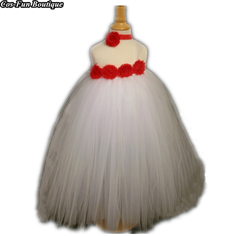Rose Red Flowers White Girl Tutu Dress New Year Dresses For Girls Formal Ball Gown Party Wedding Dress Handwork Costume W192Rose Red Flowers White Girl Tutu Dress New Year Dresses For Girls Formal Ball Gown Party Wedding Dress Handwork Costume W192
