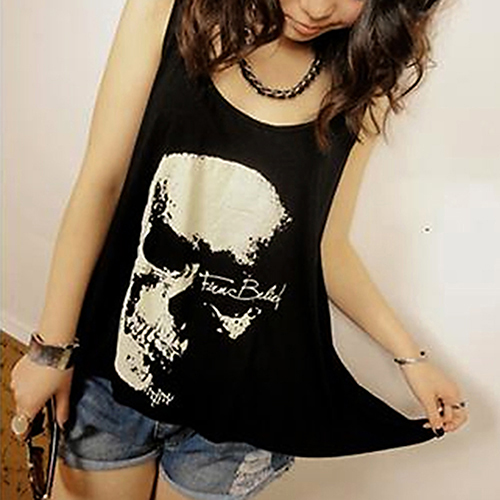 Gift Options Store Women's Punk Sexy Cool Skull Tassels Backless Sleeveless Long Tee Vest Tank Top