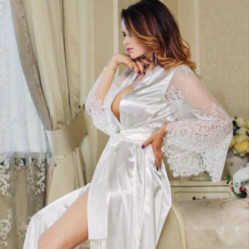 Half Sleeve Lace Robe Women Faux Silk Pajama Sexy Night Dress Nighties Erotic Nightgown Sleepwear Nightwear Transparent Bathrobe