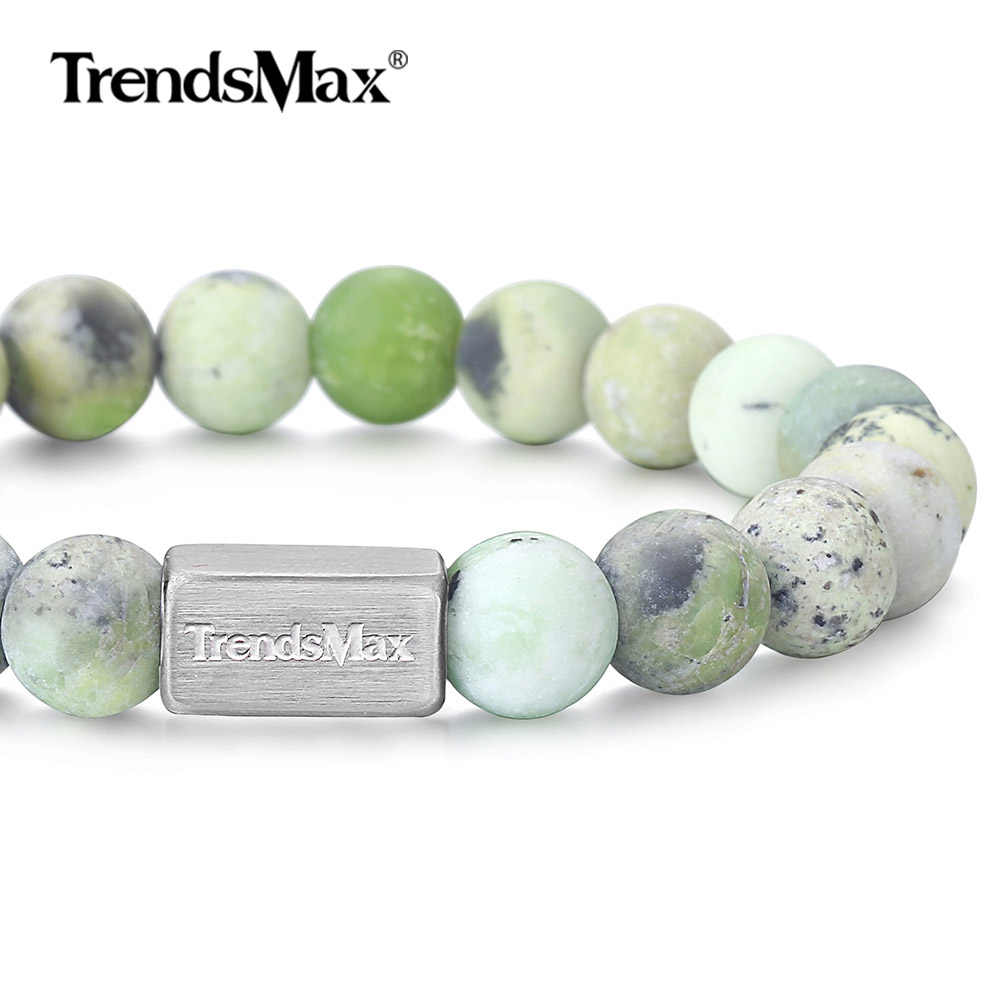 Natural Australian Jade Stone Bracelet for Mens Womens Stainless Steel Wristband Stretch Beaded Chain Crystal Gemstone TBB00116