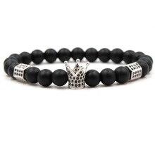 Best Selling New Fashion Bright Black Grindstone Charm Light Whetstone Handmade Zirconia Crown Bracelet Accessories