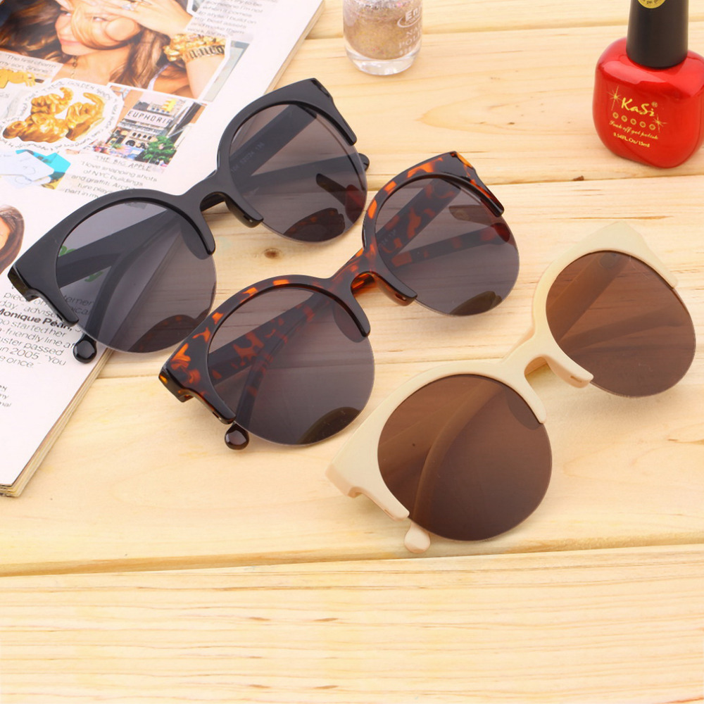 Fashionable Unisex Classic Round Shape Circle Frame Semi-Rimless Sunglasses Eyewear Outdoor Men Women Sunglasses Unique