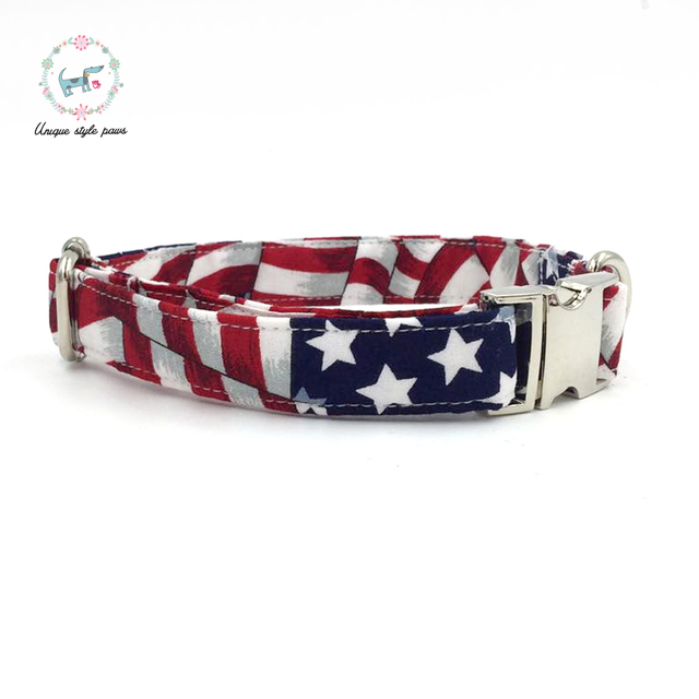 Stars and Stripes Collar and Leash set with Bow Tie 4