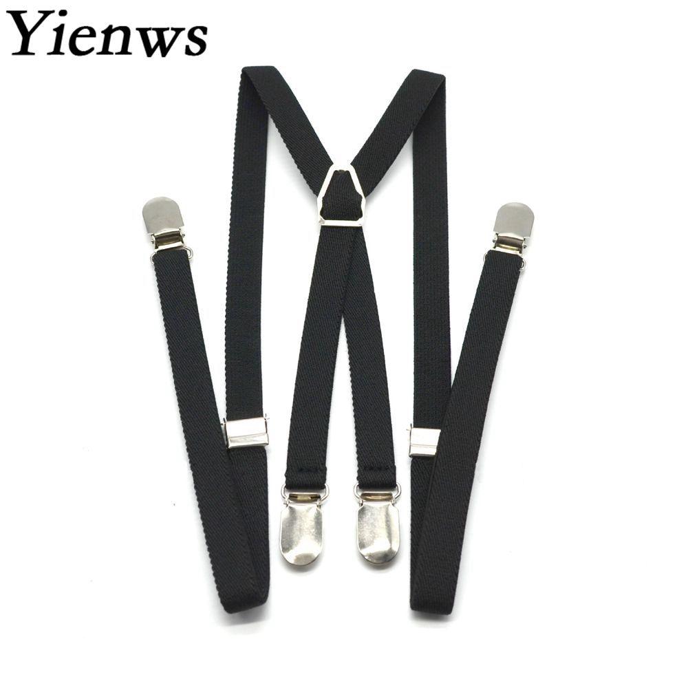 Yienws Women Suspenders 1.5*110cm 4 Clip Black Suspenders For Men Skinny Slim Suspenders Elastic Strap Braces Suspensorio YiA120