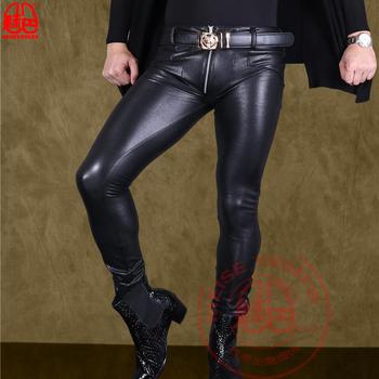 Męskie wysokoelastyczne PU nubukowe skórzane spodnie Moto Biker zagęścić etap torba nogi Bootcut męskie Faux skórzane ołówkowe spodnie tanie i dobre opinie Ecoosexy Ołówek spodnie Pełnej długości Mieszkanie skinny Faux leather spandex 2 24 - 2 88 Heavyweight Suknem NONE