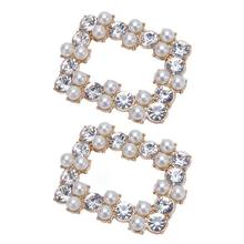 2 Pcs/Set Shoe Clip DIY Square Hollow High Heel Sandals Rhinestone Decoration Pearl Simulation Charms Ornaments Clips Buckle(China)