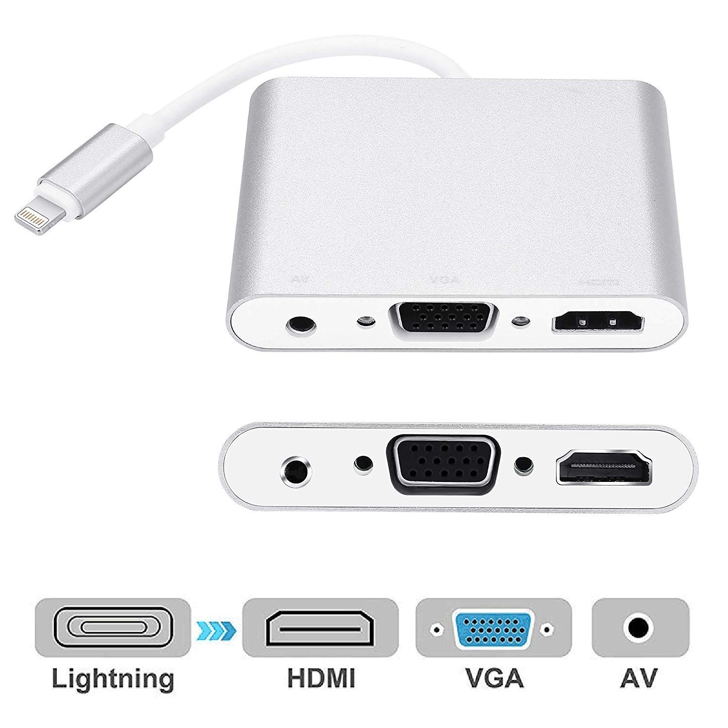 4 in 1 Digital Audio Video HDTV Converter For Lightning to VGA HDMI AV Adapter For iPhone Xs X 8 7 6plus For iPad Air/mini/pro4 in 1 Digital Audio Video HDTV Converter For Lightning to VGA HDMI AV Adapter For iPhone Xs X 8 7 6plus For iPad Air/mini/pro