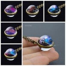 лучшая цена Wings of Dragon Necklace Double Side Glass Cabochon Pendant Vintage Bronze Chain Necklace Dragon Jewelry Necklaces for Women