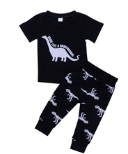 hot deal buy baby clothing sets black brave like brontosaurus t-shirt tops+dinosaur print pants 2pcs bebe clothes sets