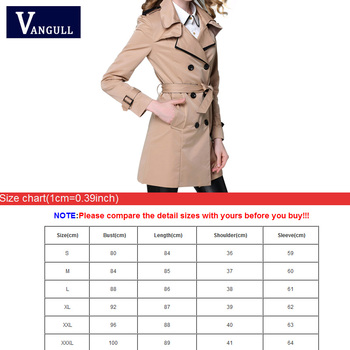 VANGULL 2017 New Fashion Designer Brand Classic European Trench Coat khaki Black Double Breasted Women Pea Coat real photos 10