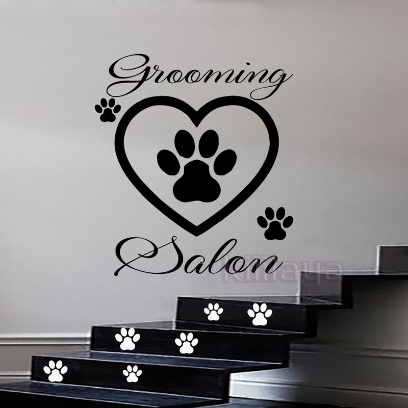Funny pet grooming salon vinyl wall sticker with dog for Black cat salon