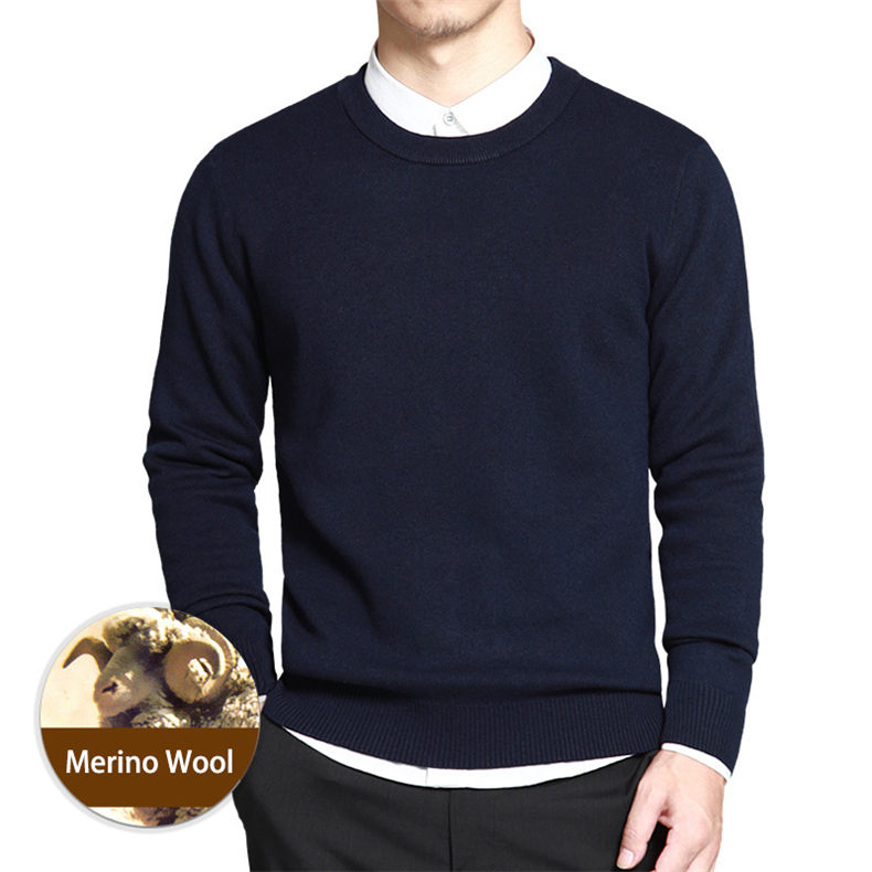 Dropshipping Sweater Men Pullover Merino Wool O Neck Men Sweater Jumper Spring Autumn Winter Warm Woolen Male knitwear Navy 3XL01