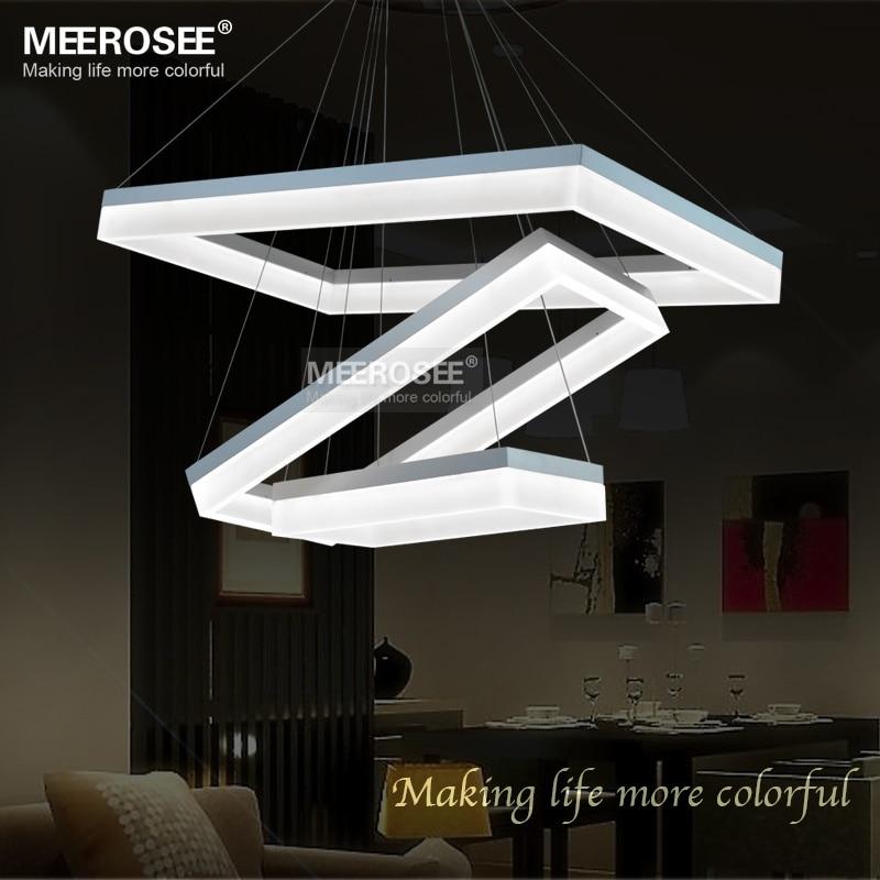 newest design led chandelier light led white rectangle lamp acrylic suspension hanging light. Black Bedroom Furniture Sets. Home Design Ideas