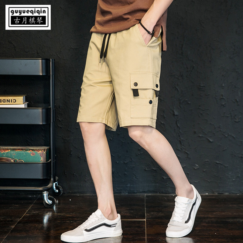 Shorts Men Clothes 2018 Summer Cotton Short Pants Pocket Overalls Elastic Waist Shorts Casual Knee Length Drawstring Beach Pants