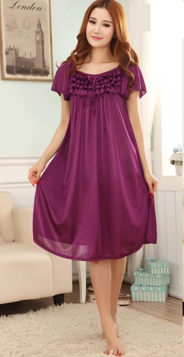Free Shipping Women Summer Viscose Candy Color sleepwear ...