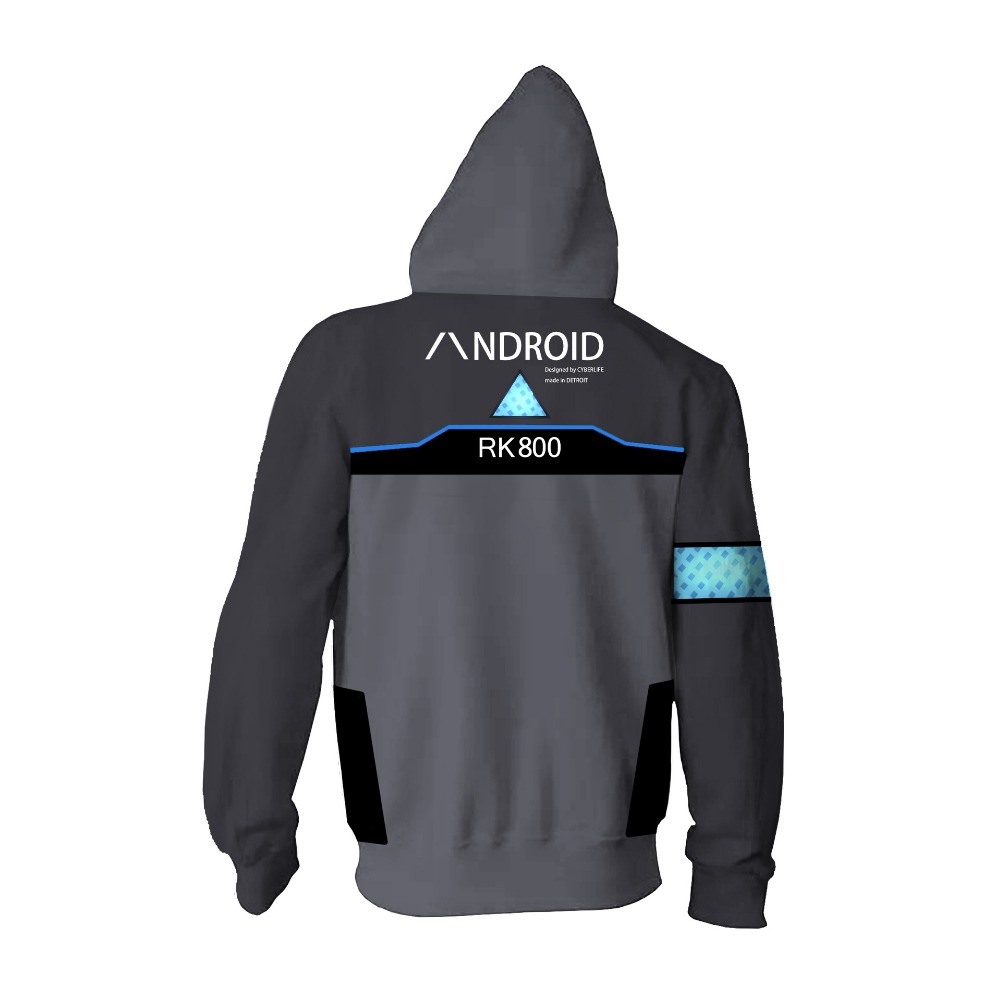 Free shipping woman and man 39 s game Detroit Become Human RK 800 zipper hoodie cosplay costume wear JQ 2603 in Hoodies amp Sweatshirts from Men 39 s Clothing