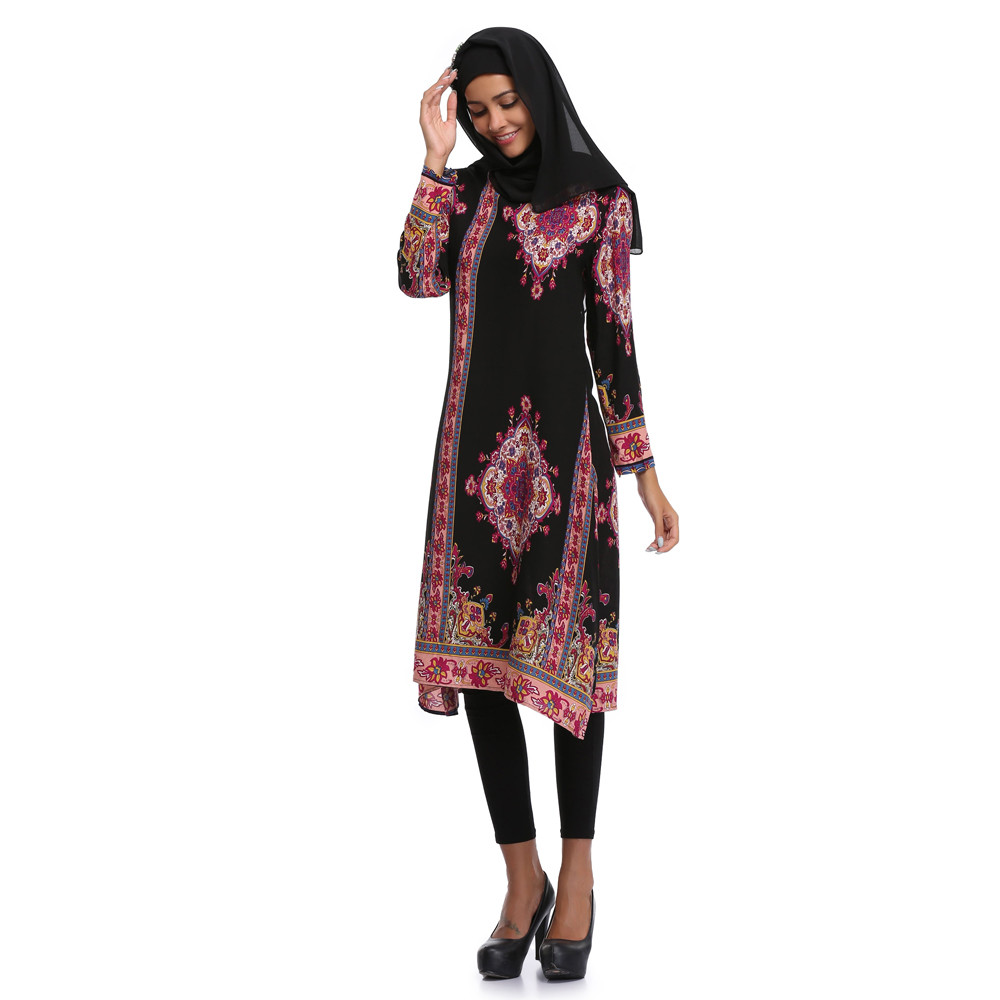 summer dresses 2018 Muslim Women Islamic Printing Long sleeves Plus Size  Middle East Long Dress -in Dresses from Women s Clothing on Aliexpress.com  ... 51287b8a9535
