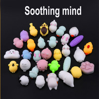 20pcs Japan Cartoon DIY Squishy Funny Mini Squeeze Silicone Hand Squishy Toy Animal Phone Cases Cute Cat Panda Elephant on Cover