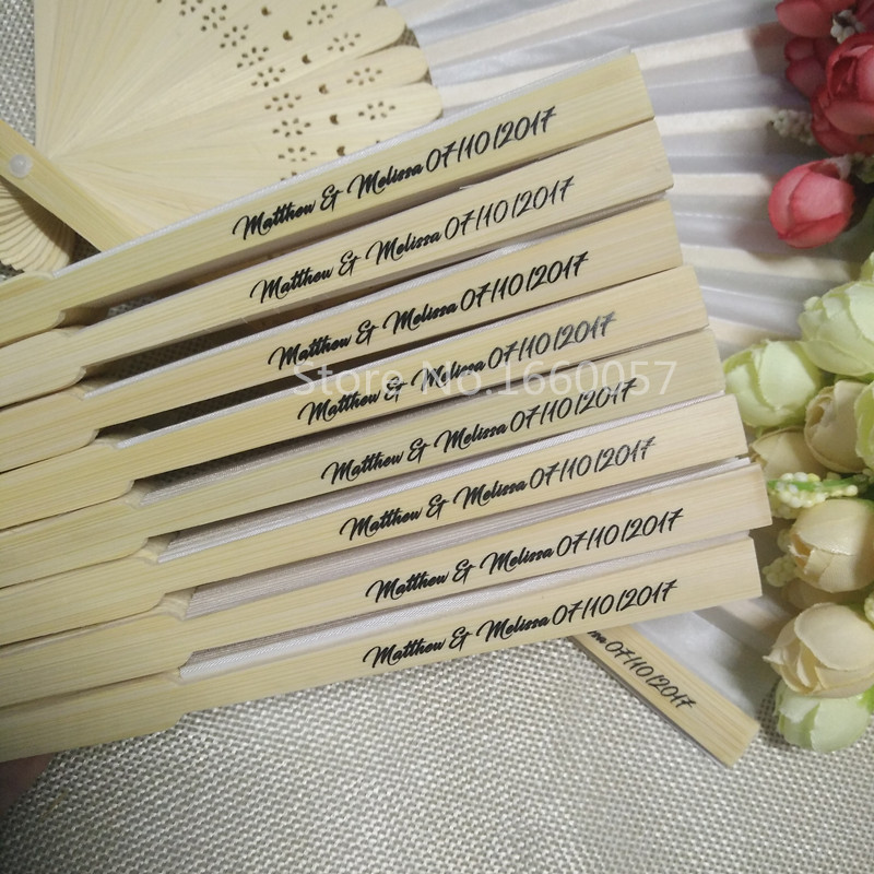 50pcs Personalized Wedding Favors Gifts Silk Fan Cloth Wedding Decoration Hand Folding Fans Customized Printing for