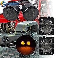 For 2007 2015 Jeep Wrangler JK Fender Side Marker Parking lamp + Smoke Lens Amber led Front Turn signal light