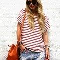 Новый 2016 Мода Майка Женщины Лето Марка Полосатый Короткий рукава О-Образным Вырезом Повседневная Рубашка Топы Плюс Размер Простые Свободные Футболки Blusas