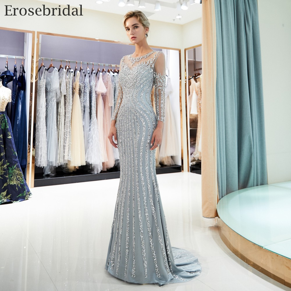 Erosebridal Mermaid Long Sleeve Evening Dress Long 2018 Sparkly Beads Sequined Formal Women Wear with Sweep Train Grey Champagne 2