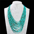 2017 Jewelry Vintage Ethnic Women Beads Bohemian Necklace Multi Layer Necklace Turquoise Beads Statement Necklace Women Choker